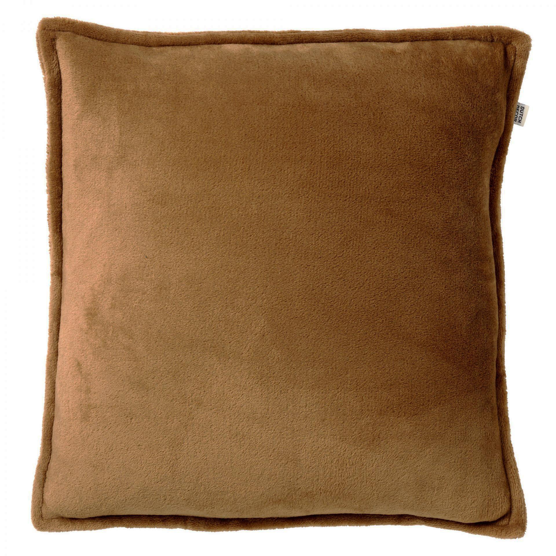 CILLY - Sierkussen van fleece Tobacco Brown 45x45 cm
