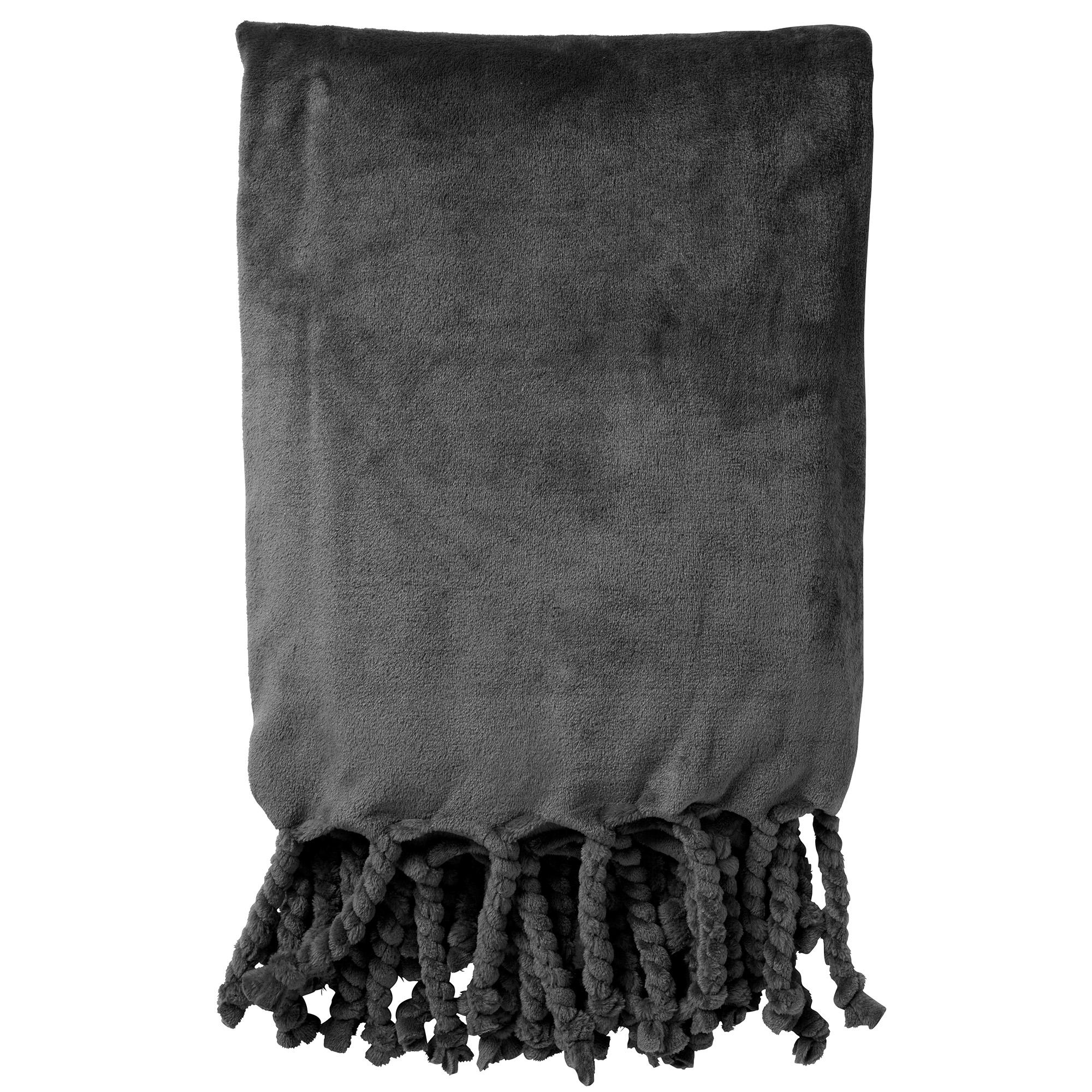 FLORIJN - Plaid Charcoal Grey 150x200 cm