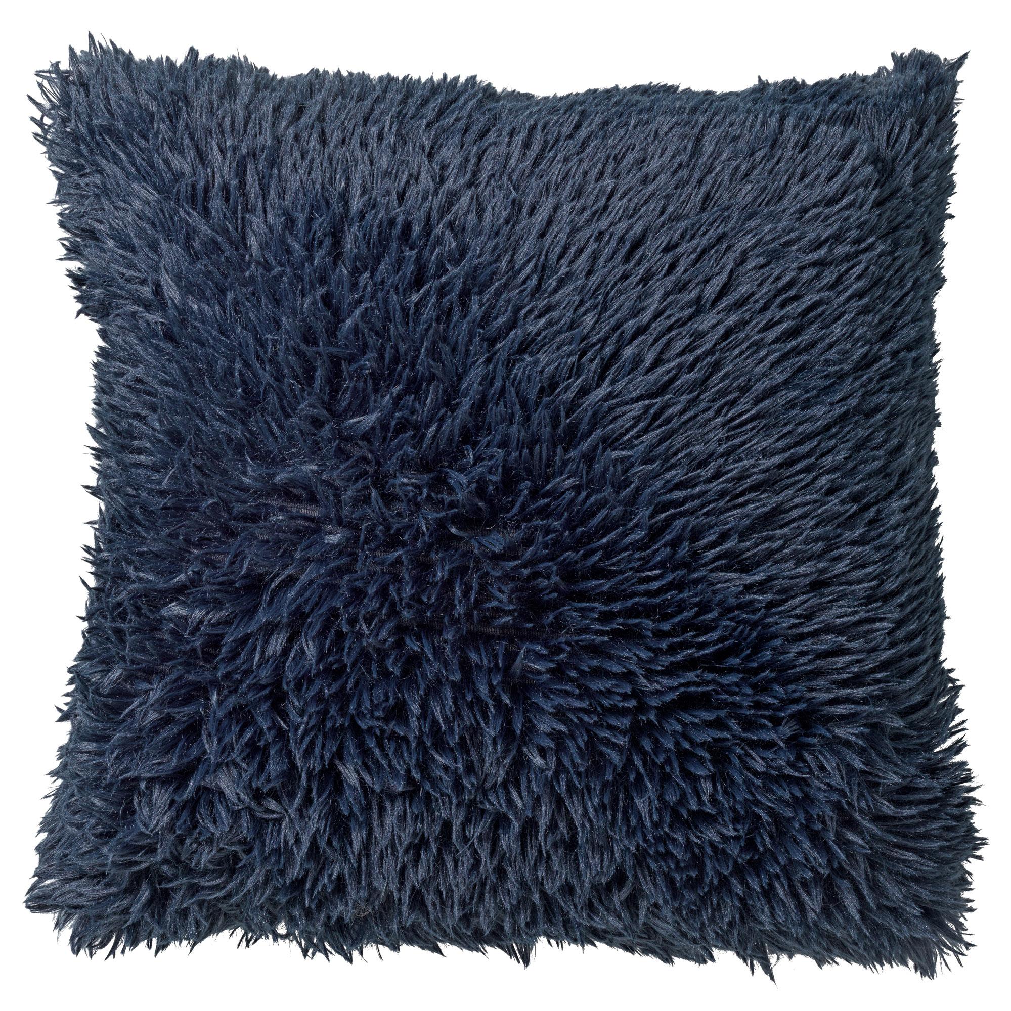 FLUFFY - Sierkussen unikleur donkerblauw 45x45 cm