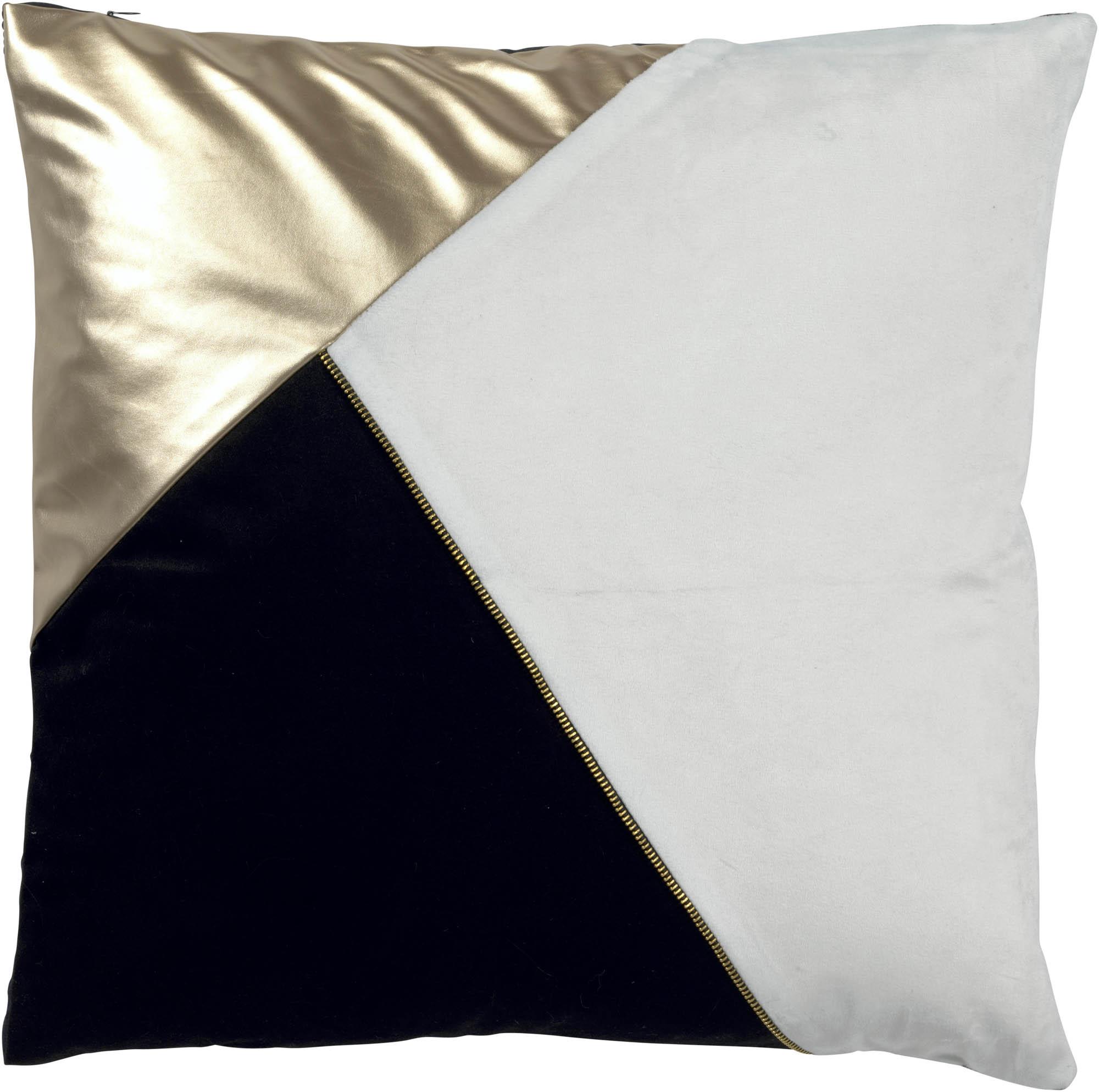 WENDY - Sierkussen zwart wit goud 50x50 cm