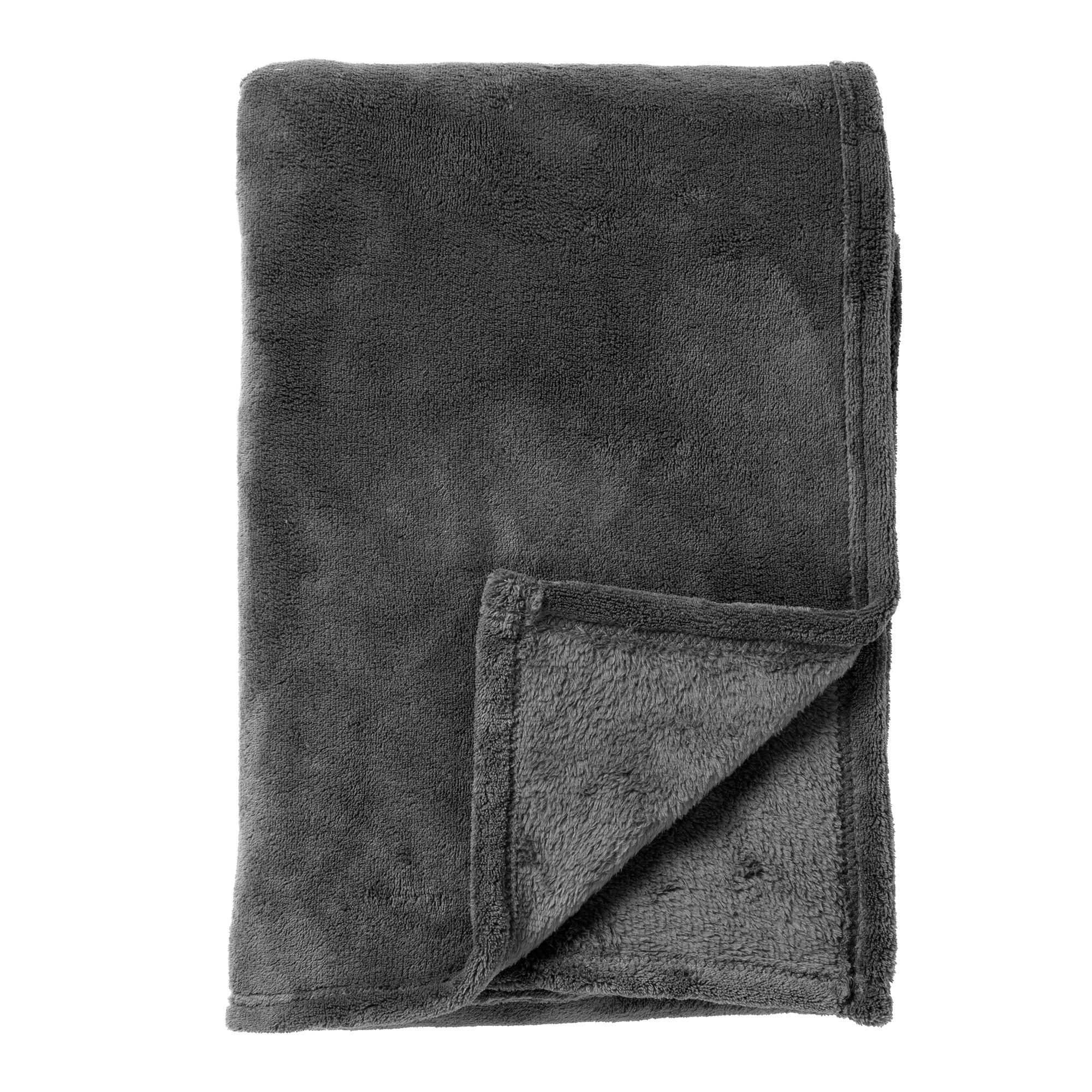 HARVEY - Plaid van fleece Charcoal Gray 150x200 cm