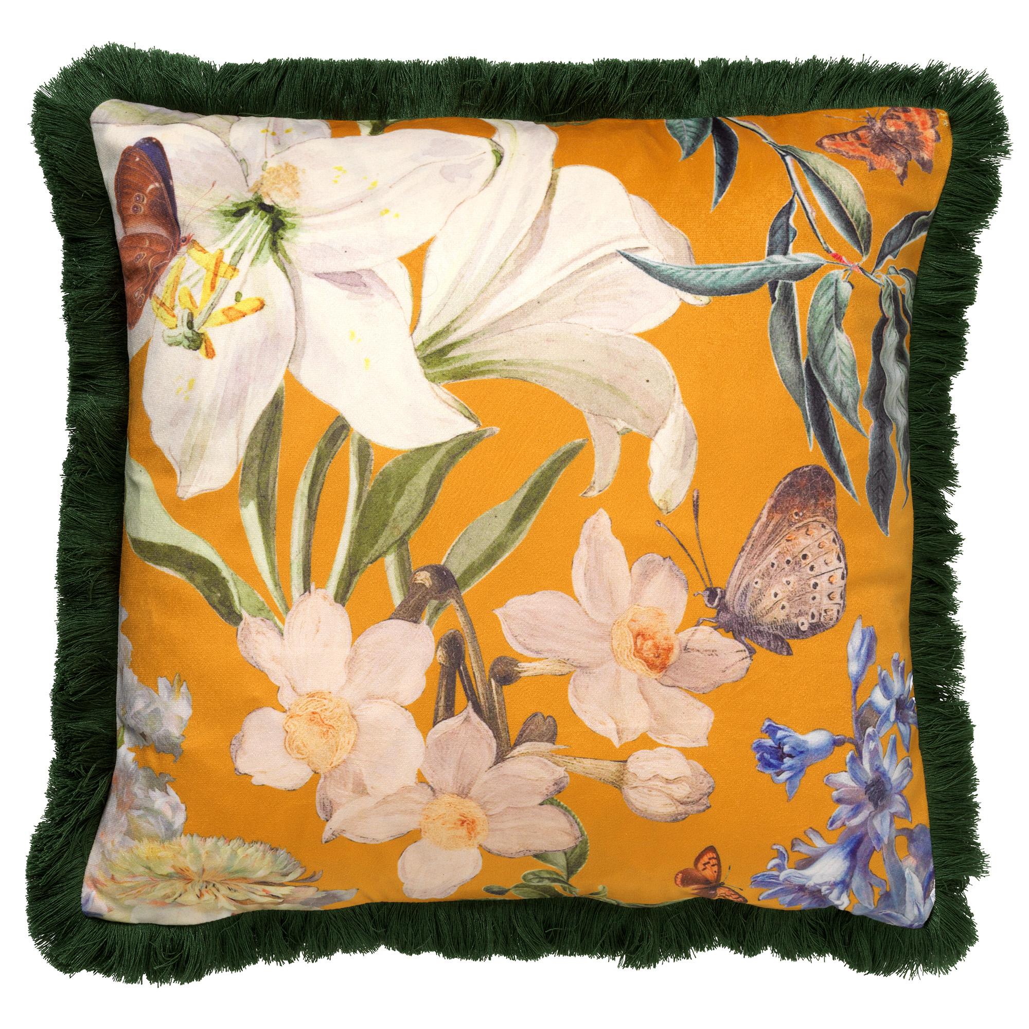 HANNA - Sierkussen met bloemenpatroon Golden Glow 45x45 cm