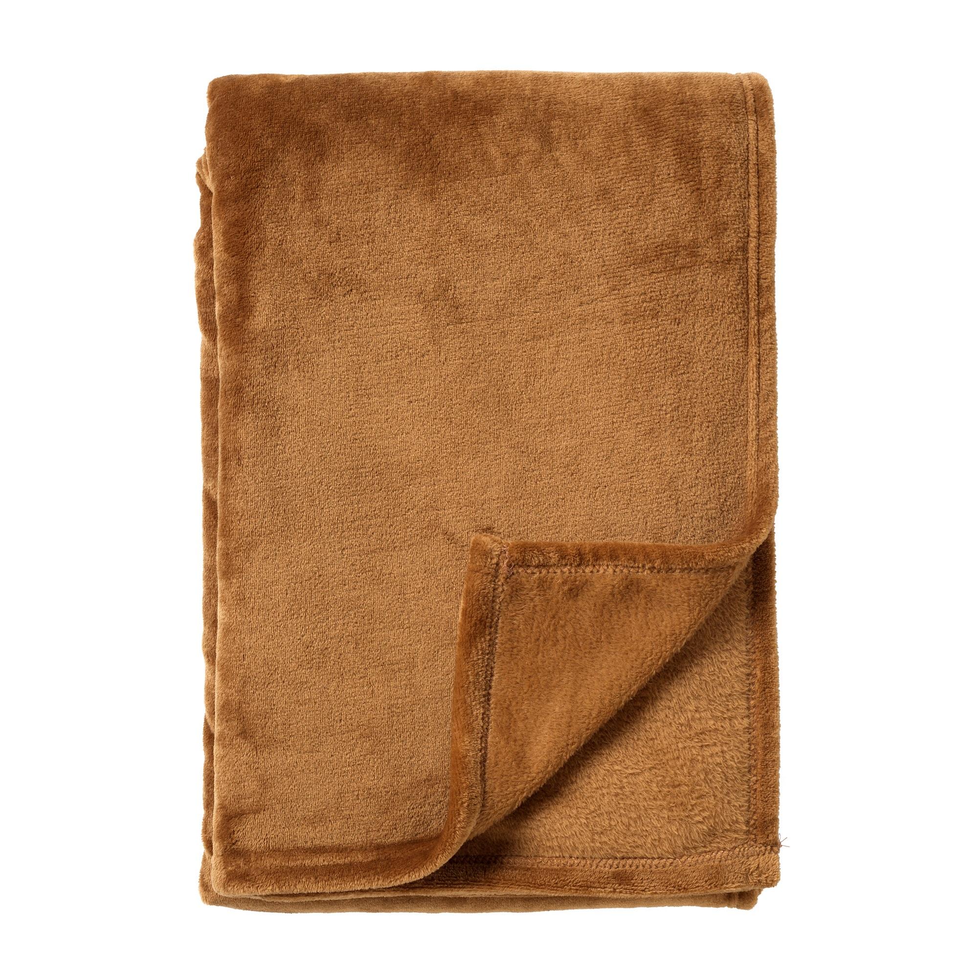 HARVEY - Plaid van fleece Tobacco Brown 150x200 cm