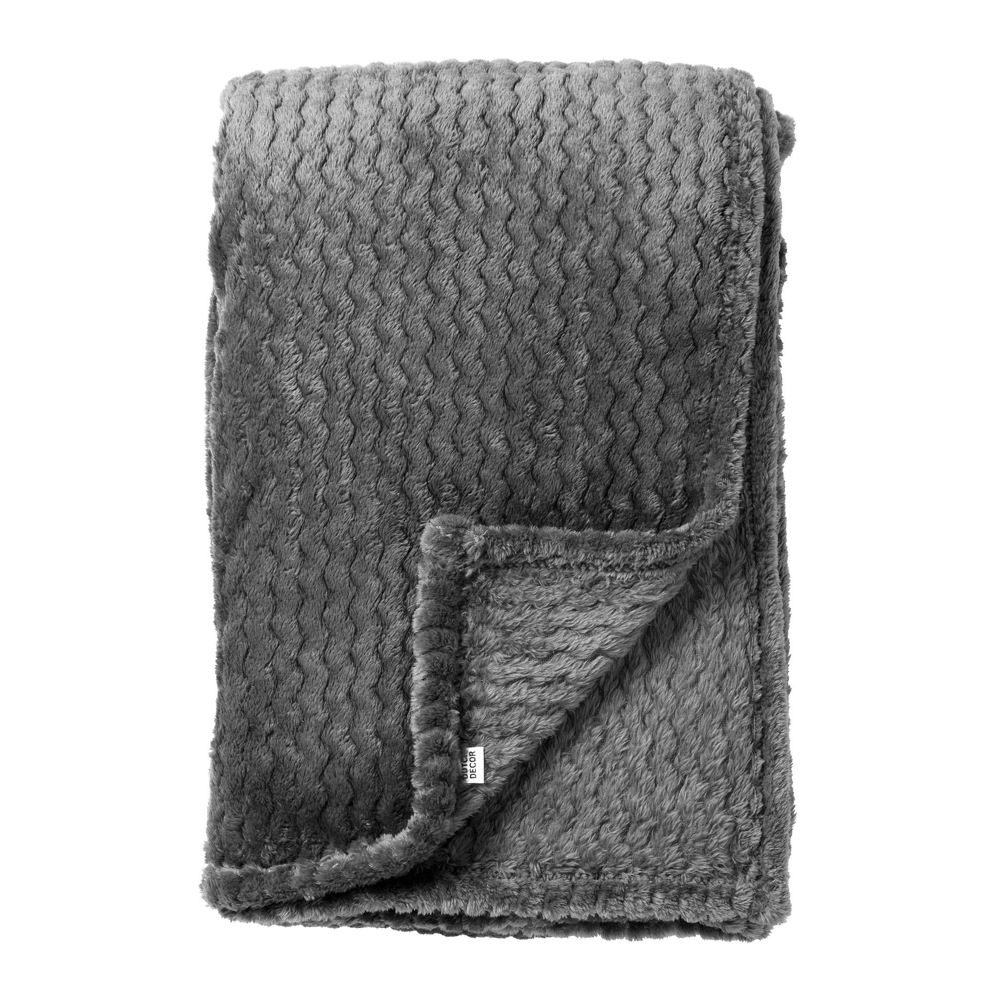 MARA - Plaid Charcoal Gray 150x200 cm