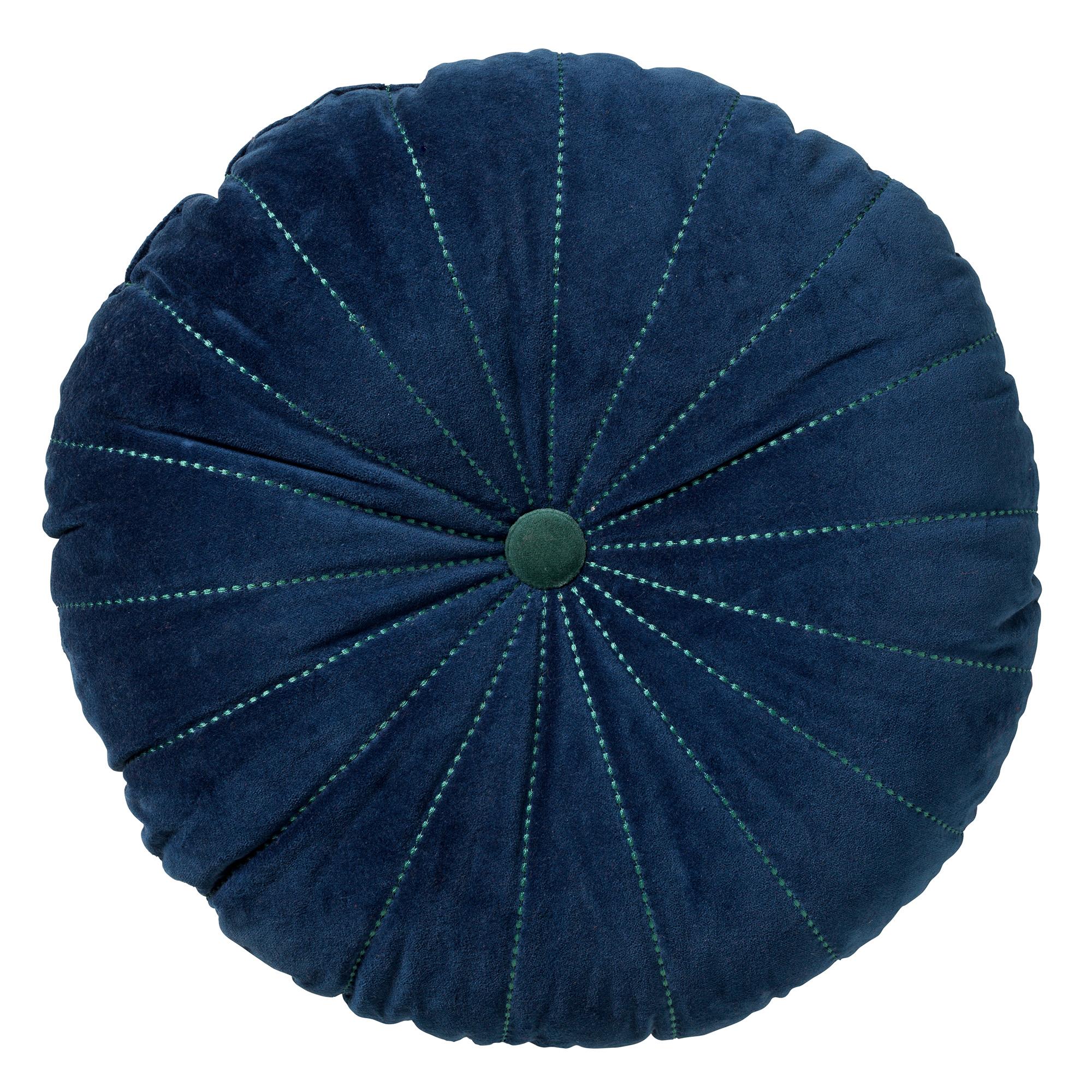 MAAN - Sierkussen rond velvet Insignia Blue 50 cm