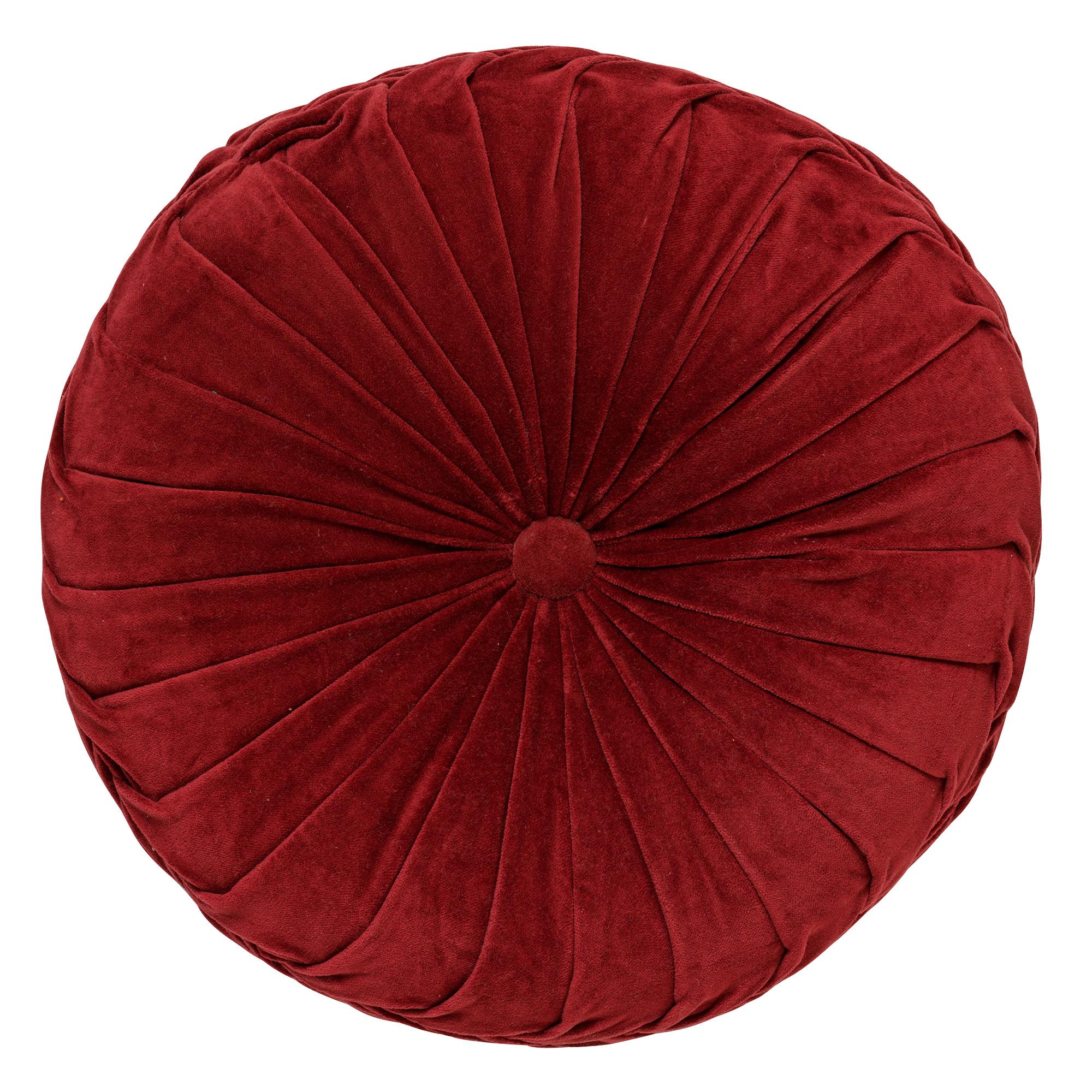 KAJA - Sierkussen rond velvet Merlot 40 cm